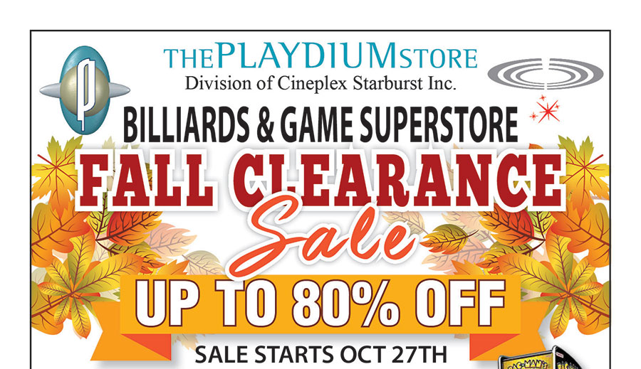 Fall 2016 Clearance Sale At The Playdium Store